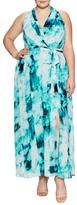 London Times Ikat Wallpaper Printed Maxi Wrap Dress