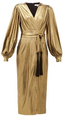 Borgo de Nor Sofi Tasselled Waist-tie Lame Midi Dress - Womens - Gold