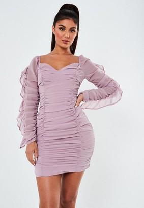 Missguided Mauve Chiffon Ruffle Ruched Mini Dress