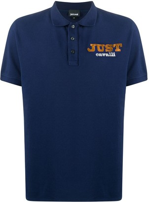 Just Cavalli Logo Embroidered Buttoned Polo Shirt