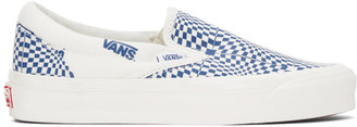 Vans Blue and White CHECK OG Classic Slip-On LX Sneakers