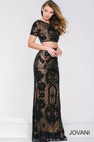 Jovani Intricate Lace Two-Piece Bateau Sheath Gown 37701