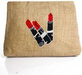 Moyna Light Brown Burlap Lipstick Embroidered Clutch Handbag