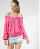 Express oversized off the shoulder v-neck sweatshirt