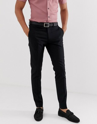 Jack and Jones Intelligence slim fit smart trousers in black