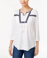 Style&Co. Style & Co. Embroidered Pleated Top, Only at Macy's