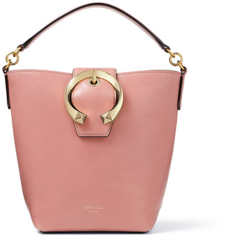 Jimmy Choo MADELINE BUCKET Blush Calf Leather Bucket Bag with Metal Buckle
