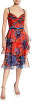 Marchesa Floral-Print Sleeveless Tiered Organza Dress with Draped Bodice