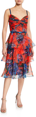 Marchesa Notte Floral-Print Sleeveless Tiered Organza Dress with Draped Bodice