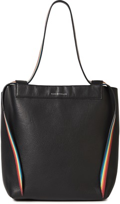 Elena Ghisellini Inseparable Striped Pebbled-leather Tote