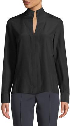Akris Split-Neck Silk Button-Front Blouse