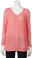 Croft & Barrow Women's Open-Stitch V-Neck Sweater