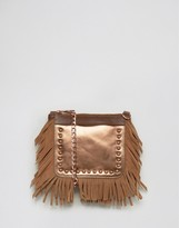 Urban Code Urbancode Real Leather Festival Fringed Cross Body Bag with Silver Emobossed Croc