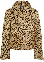 McQ Leopard-Print Calf Hair Biker Jacket