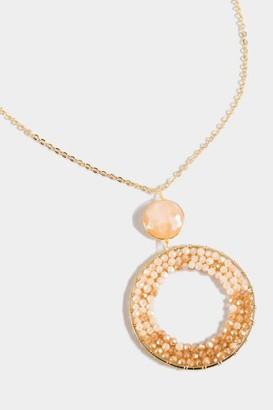 francesca's Miranda Woven Beaded Pendant Necklace - Ivory