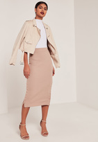 Missguided Pink Double Popper Ribbed Midi Skirt