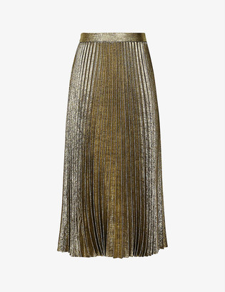 Reiss Gemma metallic pleated satin-crepe skirt