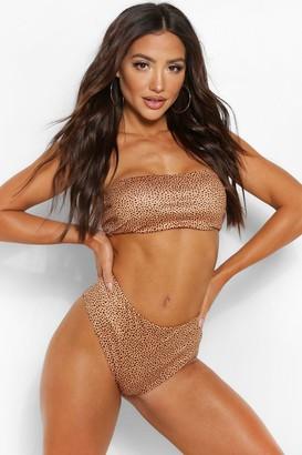 boohoo Cheetah Print Bandeau Bikini