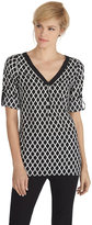 White House Black Market Tab Sleeve Black and White High-Low Tunic