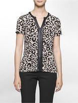 Calvin Klein Womens Leopard Short Sleeve Top