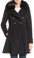 Via Spiga Women's Double Breasted Coat With Faux Fur Collar