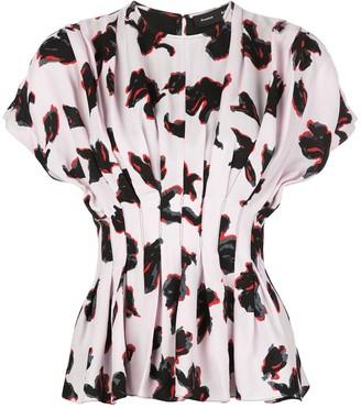 Proenza Schouler Iris print pleated peplum blouse