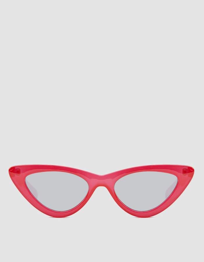 Le Specs Adam Selman X The Last Lolita Sunglasses in Red/Silver Mirror