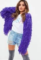 Missguided Premium Purple Shaggy Crop Knit Cardigan