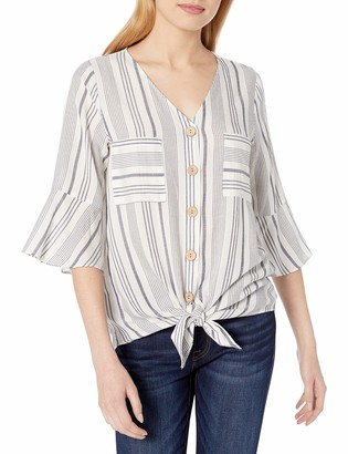 Amy Byer Women's Tie Front Button Up Top