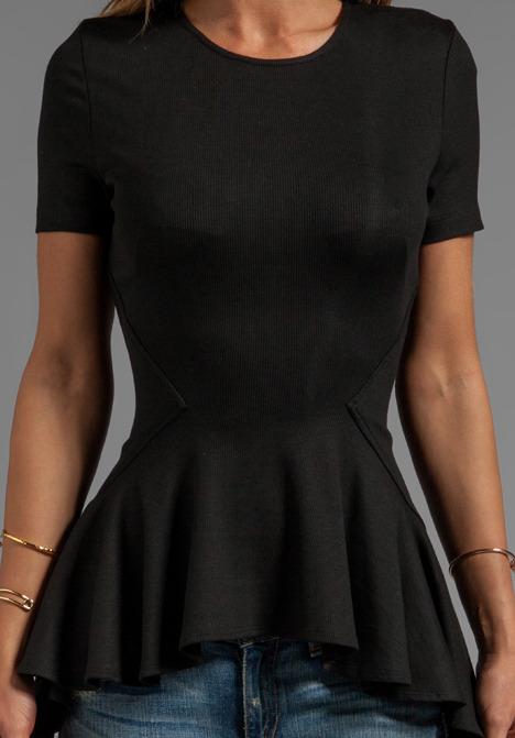 Torn By Ronny Kobo Alaina Short Sleeve Rib Top
