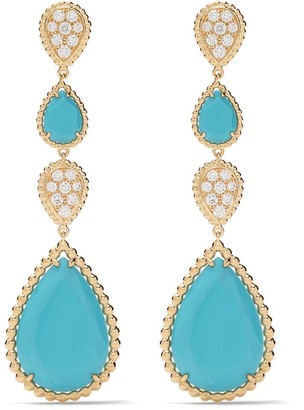 Boucheron 18kt yellow gold Serpent Boheme diamond and turquoise S motif pendant earrings