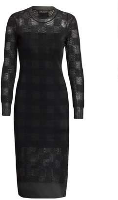Rag & Bone Charlotte Mesh-Knit Gingham Sheath Dress