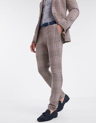 ASOS DESIGN super skinny suit trousers in camel multicolour check