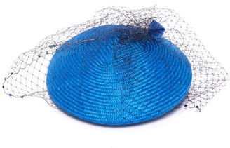 Stephen Jones Voodoo Veiled Straw-woven Beret - Blue
