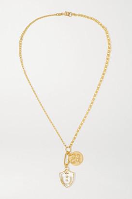 Foundrae Wholeness Per Aspera Ad Astra 18-karat Gold, Quartz And Diamond Necklace