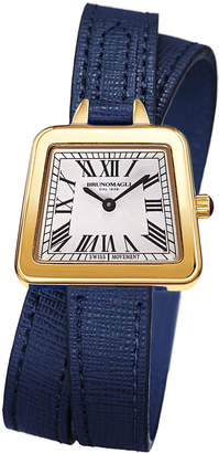 Bruno Magli 28mm Emma Trapezoid Double-Wrap Watch, Navy/Gold