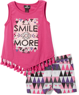 Dollhouse Pink 'Smile' Sleeveless Top Set - Infant, Toddler & Girls