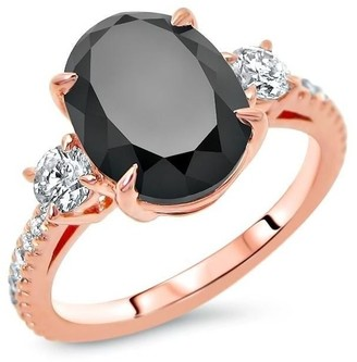 Front Jewelers 14k Rose Gold 4 1/2ct TDW Certified Oval-cut Black Diamond 3 Stone Engagement Ring