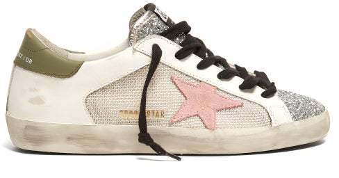 Golden Goose Super Star Contrast Panel Leather Trainers - Womens - White Multi