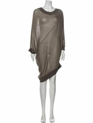 Brunello Cucinelli Scoop Neck Knee-Length Dress Brown