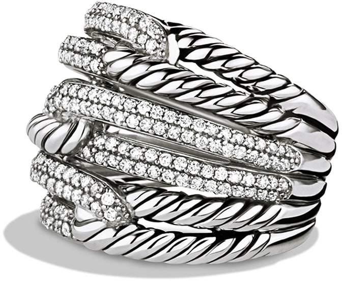 David Yurman 'Labyrinth' Triple-Loop Ring with Diamonds