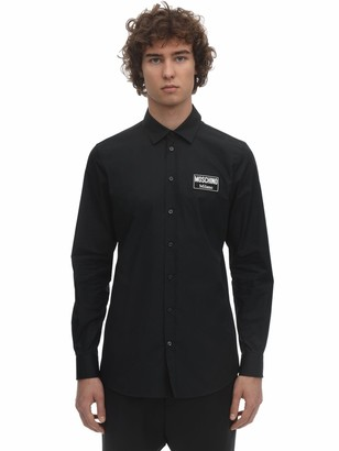 Moschino Cotton Poplin Shirt W/ Logo Patch