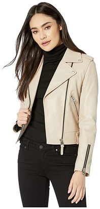 Mackage Baya-R Leather Moto Jacket (Sand) Women's Clothing