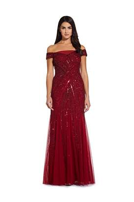 Adrianna Papell Beaded Off Shoulder Gown