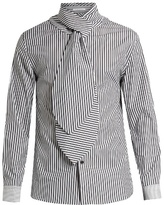 J.w.anderson Scarf-tie Double-cuff Striped Cotton Shirt