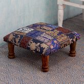 Novica Sheesham Wood Cotton Polyester 'Rajasthan Fantasy' Ottoman (India)