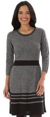 Apt. 9 Petite Striped Fit & Flare Sweater Dress
