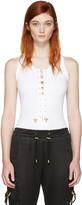 Balmain White Lace-up Bodysuit