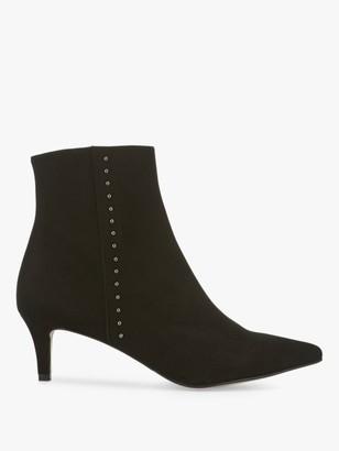 Mint Velvet Jodie Leather Kitten Heel Ankle Boots, Black