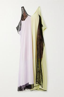 Maison Margiela Oversized Lace-paneled Jersey Maxi Dress - Lilac